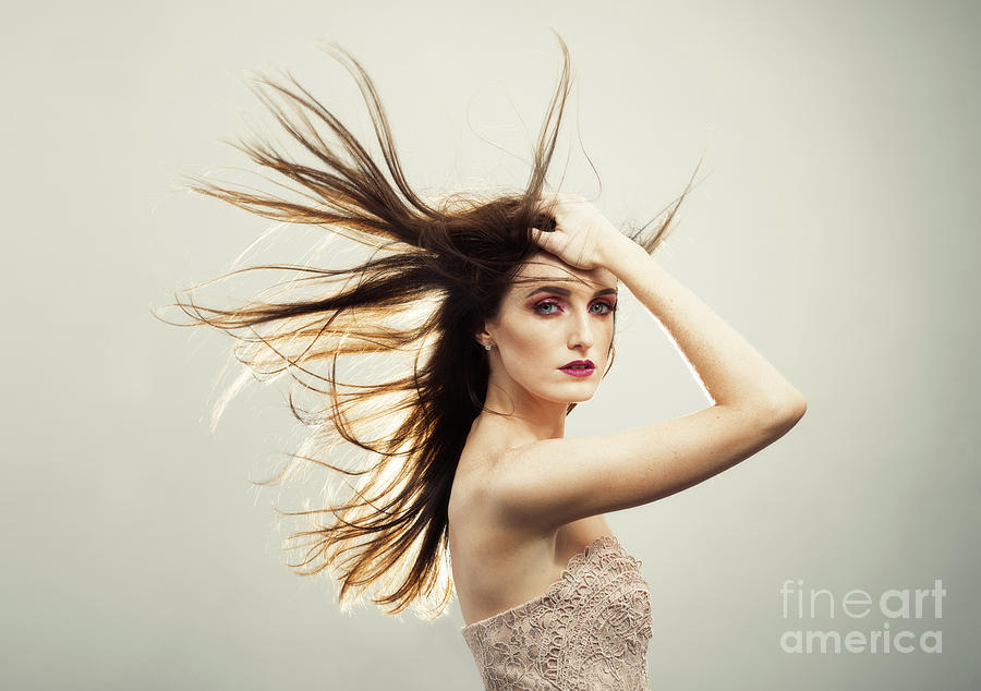 Make Up Photograph - Beautiful Young Woman With Windswept Hair by Amanda Elwell
