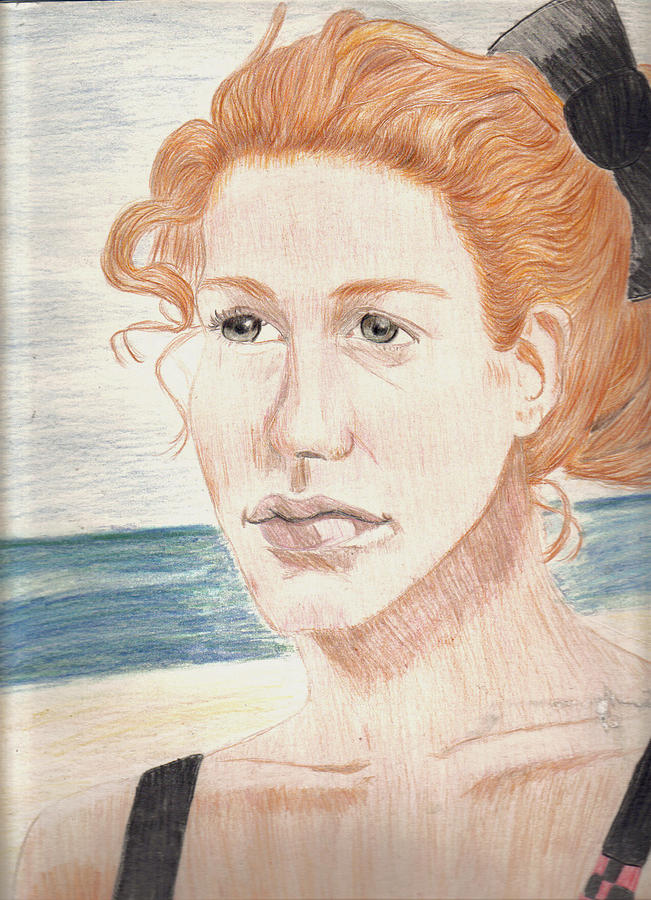Portrait Drawing - Beauty And The Beach by Thomasina Marks
