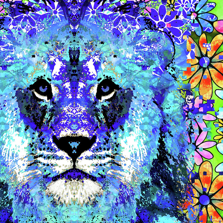 Lion Painting - Beauty And The Beast - Lion Art - Sharon Cummings by Sharon Cummings