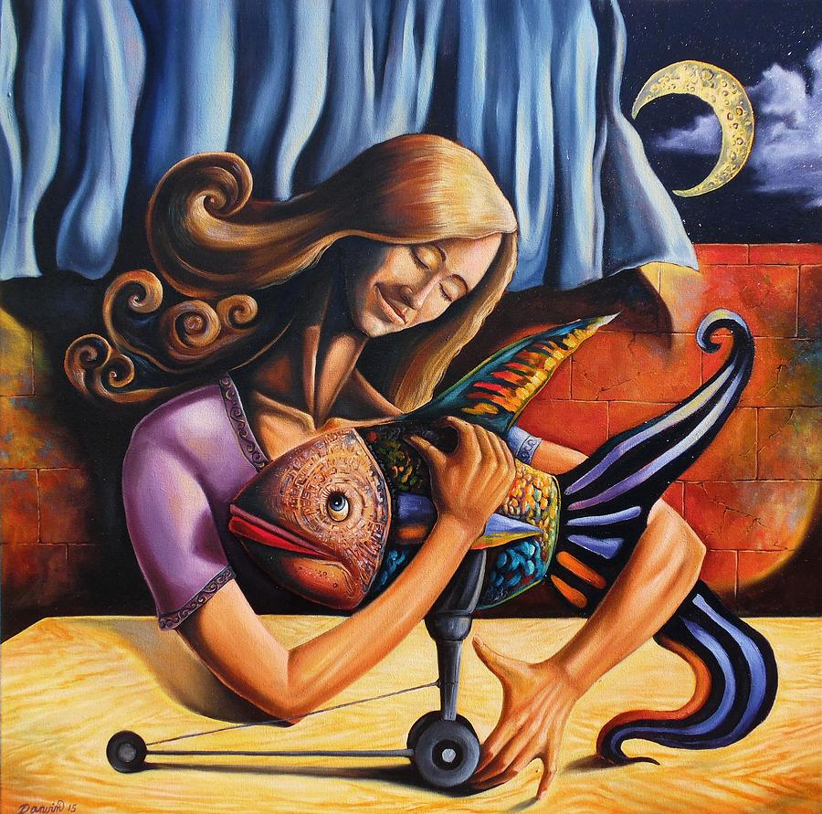 Surrealism Painting - Beauty and the fish having an unconditional agreement under the yellow moon by Darwin Leon
