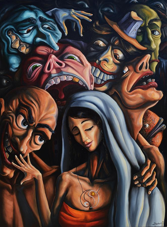 Surrealism Painting - Beauty and the freaks by Darwin Leon