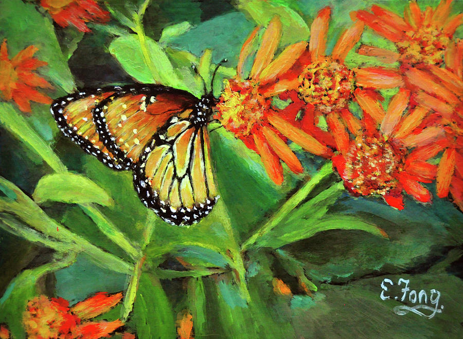 Butterfly Painting - Beauty Attracts by Eileen  Fong