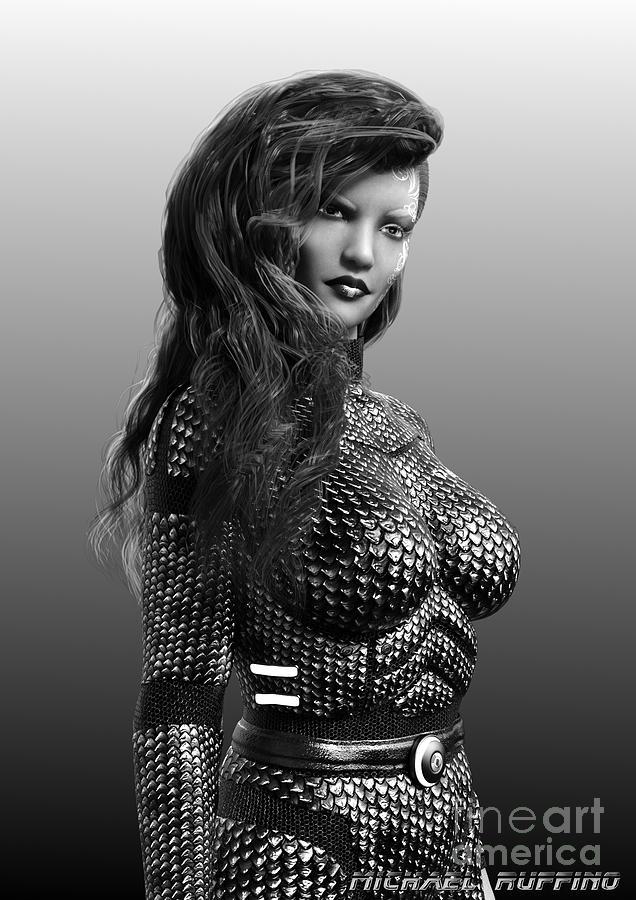 Female Digital Art - Blue Beauty In Bw by Michael Ruffino