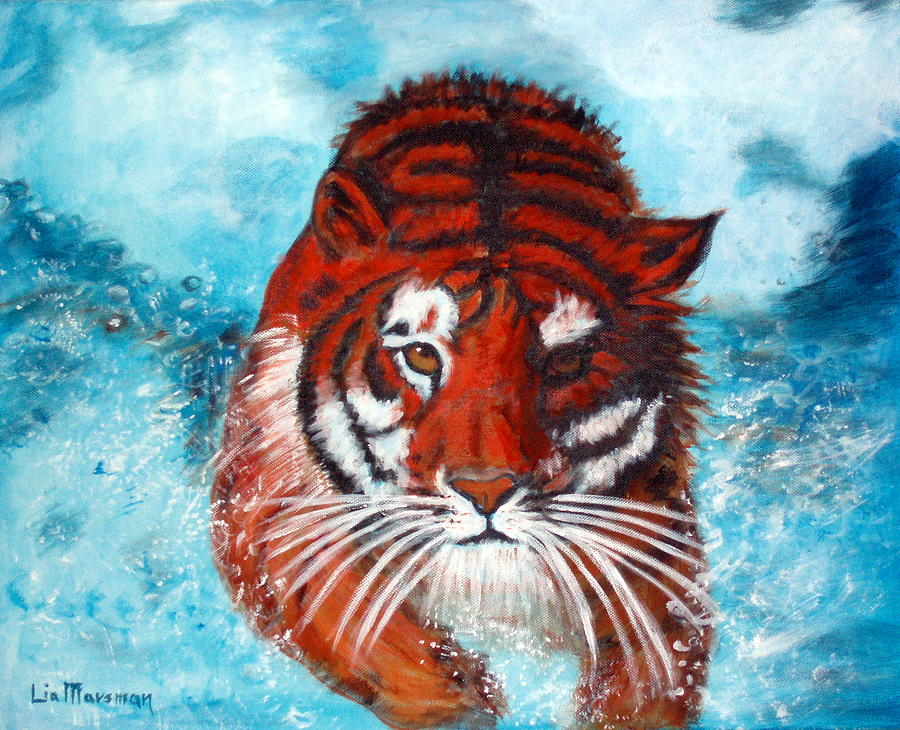 Tiger Painting - Beauty In Motion by Lia  Marsman