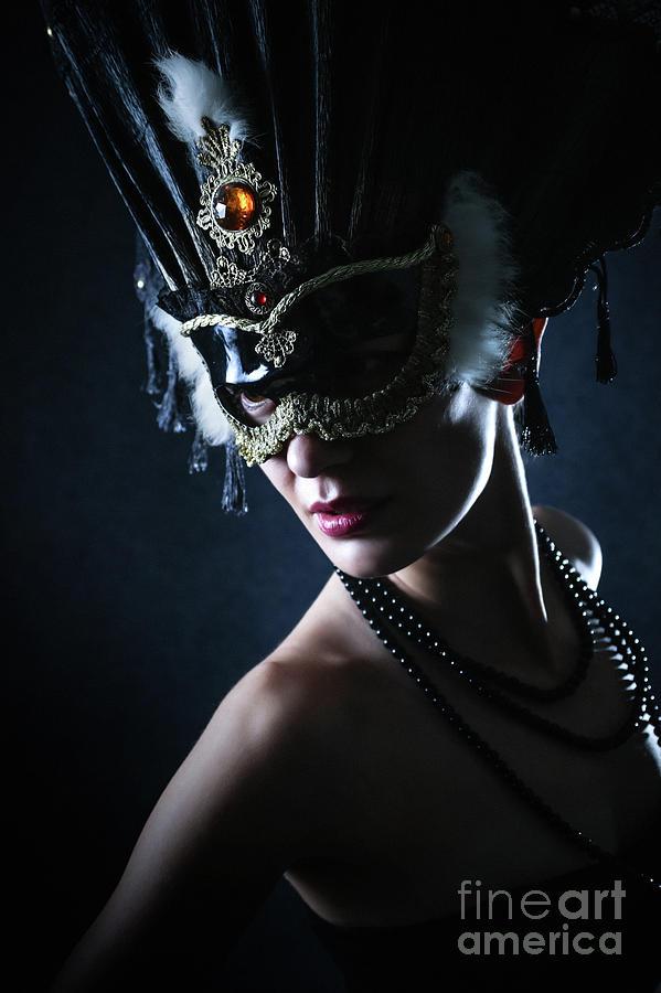 Fashion Photograph - Beauty Model Wearing Venetian Masquerade Carnival Mask by Dimitar Hristov