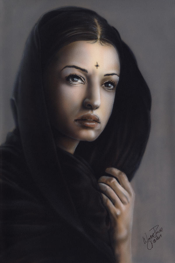 Portrait Painting - Beauty Of India by Wayne Pruse