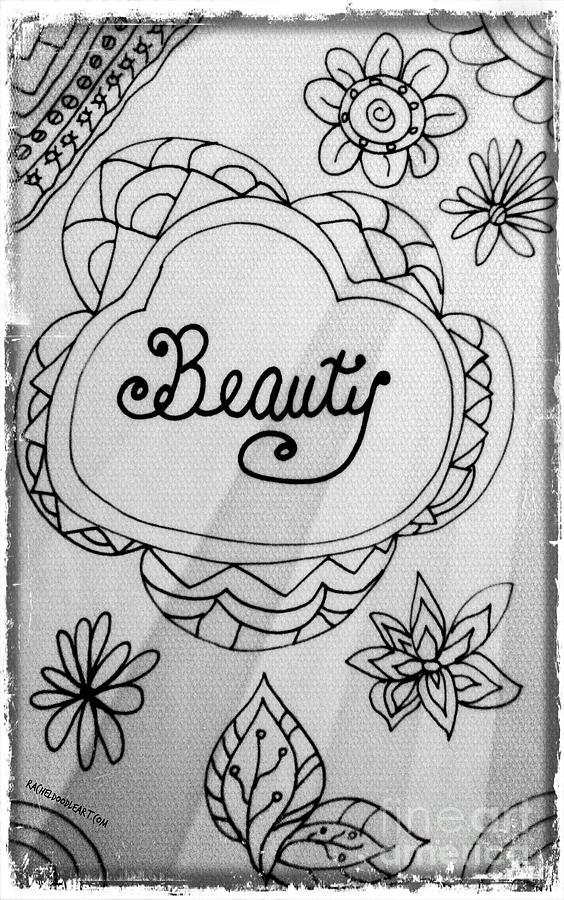 Doodle Drawing - Beauty by Rachel Maynard