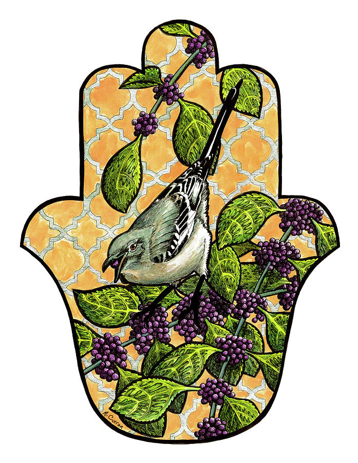 Beautyberry Mockingbird Drawing By Mindy Curran