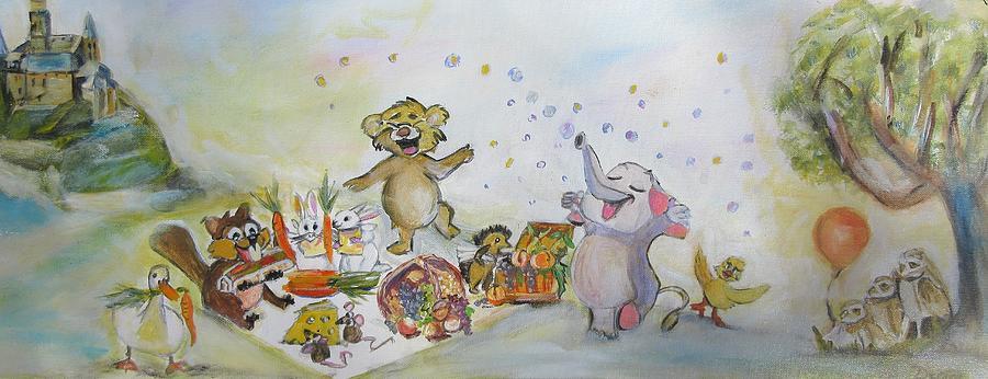 Whimsical Mixed Media - Beaver And Animal Picnic by Denice Palanuk Wilson