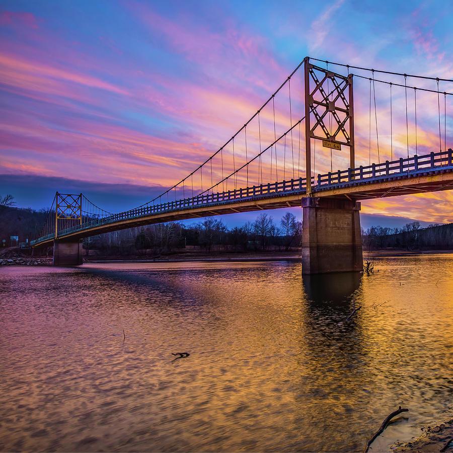 America Photograph - Beaver Bridge Sunset - Eureka Springs Arkansas - Square Format by Gregory Ballos