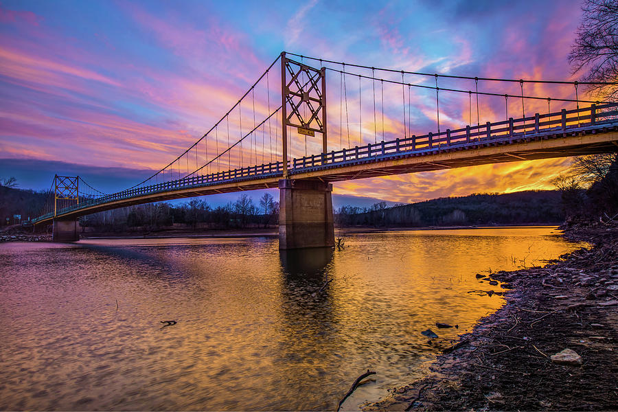 Beaver Bridge - The Little Golden Gate Bridge of Arkansas by Gregory Ballos