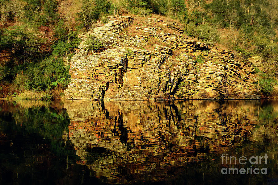 Landscape Photograph - Beavers Bend Rock Wall Reflection by Tamyra Ayles