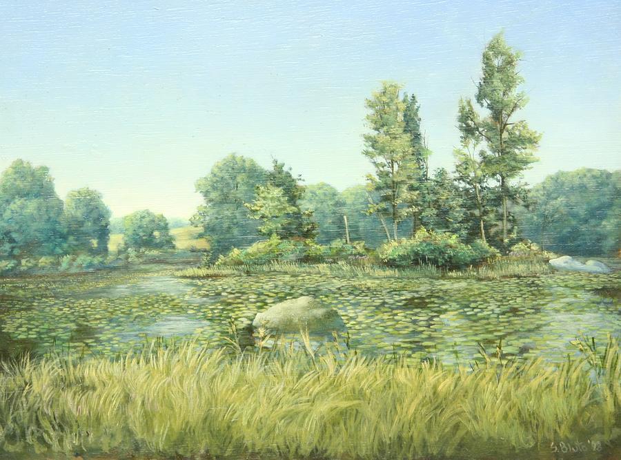 Landscape Painting - Beavor Pond by Stephen Bluto
