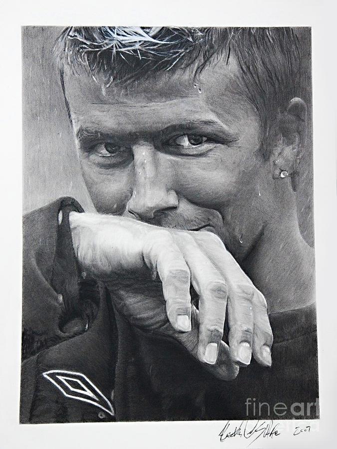 Soccer Painting - Beckham by Raymond Potts