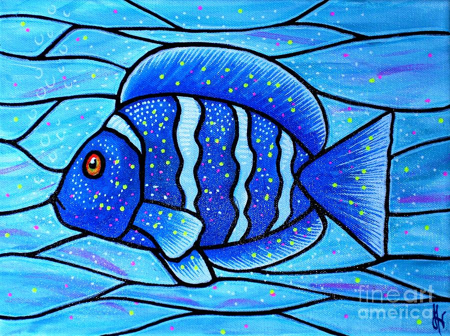 Tropical Fish Painting - Beckys Blue Tropical Fish by Jim Harris