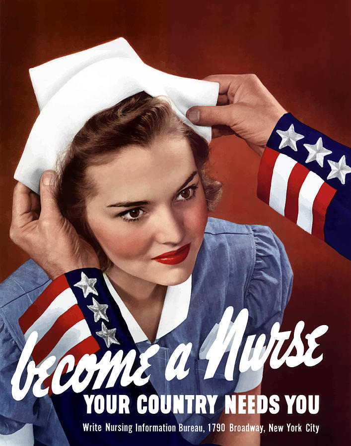 Uncle Sam Painting - Become A Nurse -- WW2 Poster by War Is Hell Store
