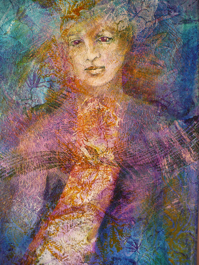 Figurative Painting - Becoming The Flower by Sue Reed