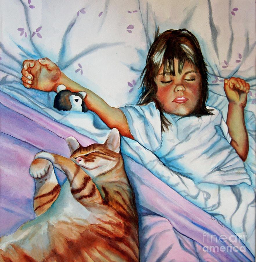 Child Painting - Bed Buddies by Gail Zavala