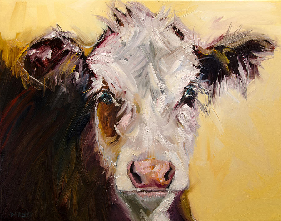 Bed Head Cow Painting by Diane Whitehead
