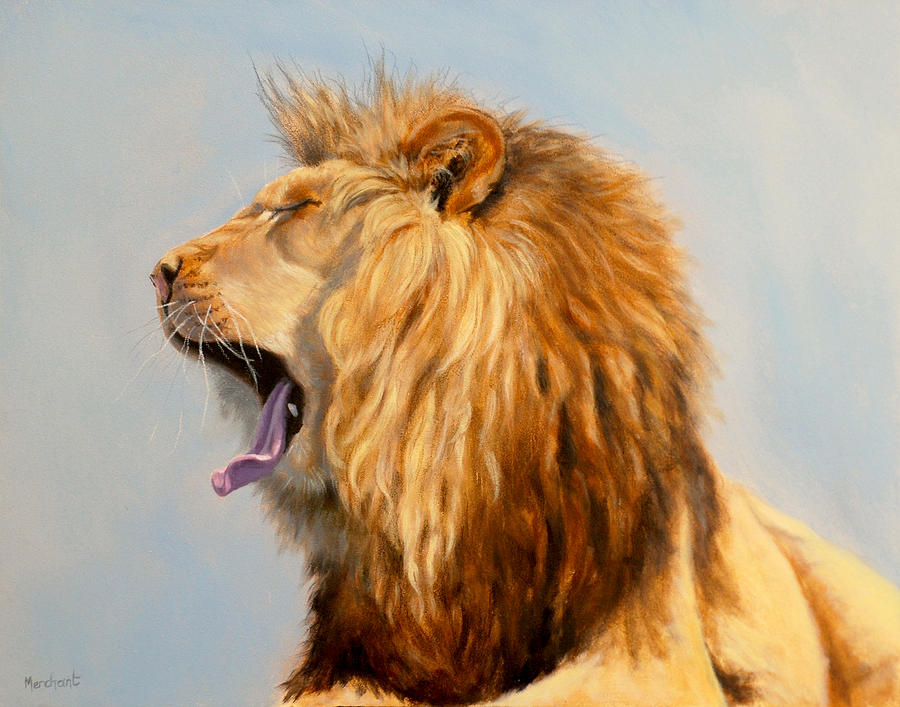 Oil Painting - Bed Head - Lion by Linda Merchant