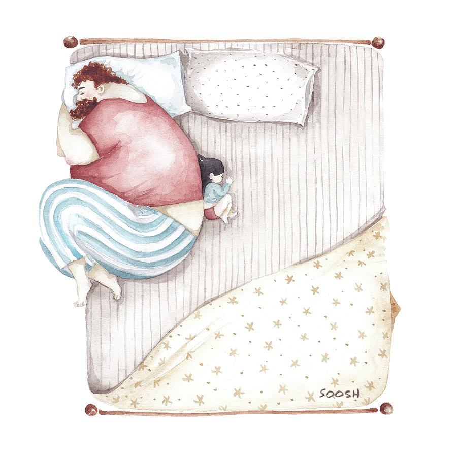Illustration Painting - Bed. King size. by Soosh