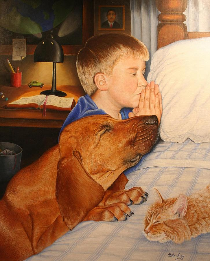 Portraits Painting - Bed Time Prayers by Mike Ivey