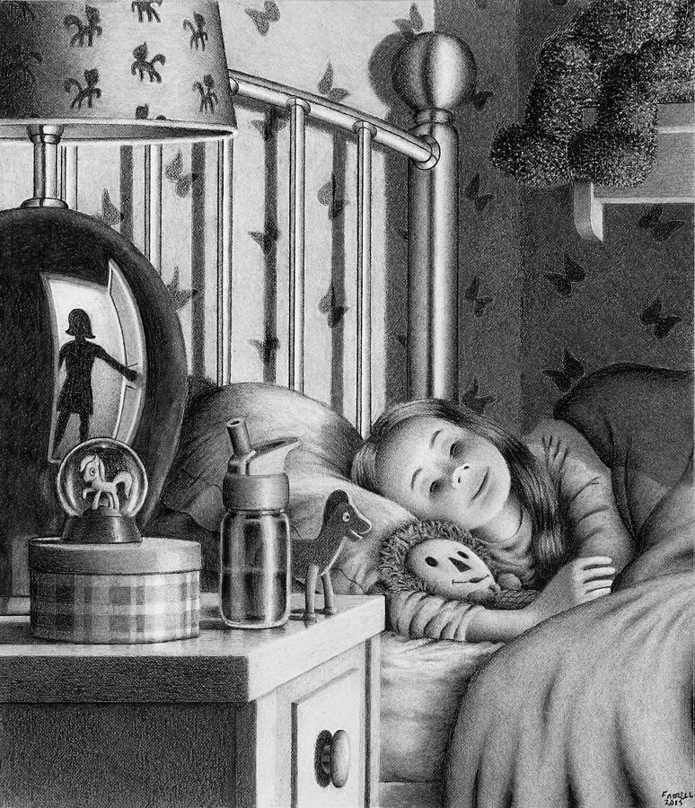 Drawing Drawing - Bedcheck by Mike Farrell