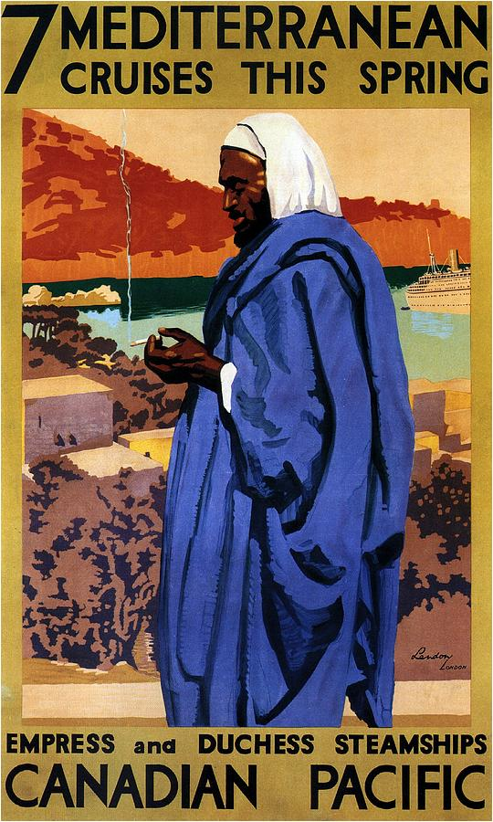 Canadian Pacific Painting - Bedouin in a blue robe smoking cigarette - Vintage Advertising Poster for Canadian Pacific Steamship by Studio Grafiikka