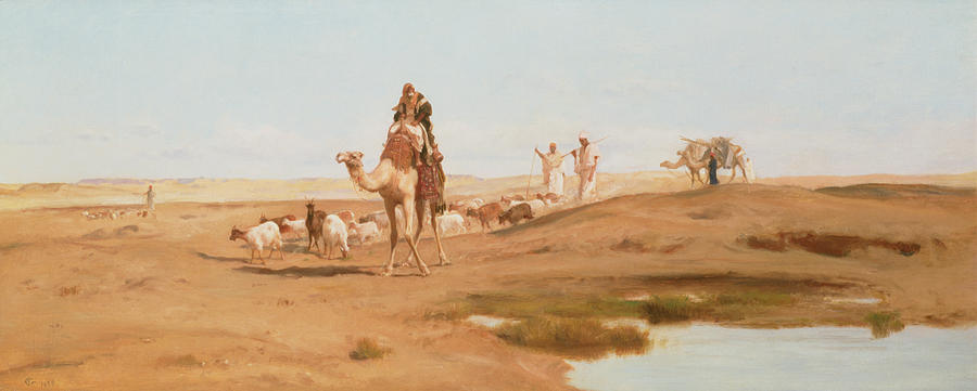 Landscape; Arab; Camel; Goatherd; Goats; Herd; Nomad; Nomadic; Oasis; North African; Berber Painting - Bedouin In The Desert by Frederick Goodall
