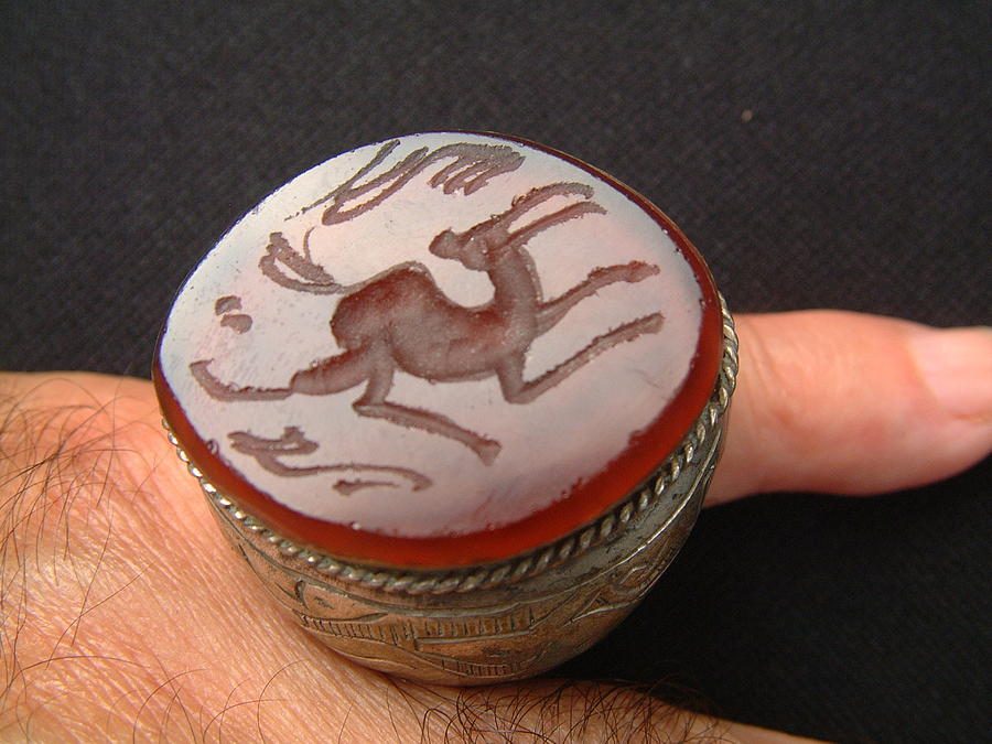 Silver Rings Jewelry - Bedouin Silver Seal Ring Decorated With Large Carnelian Inscribed Stone by Bedouin silversmith