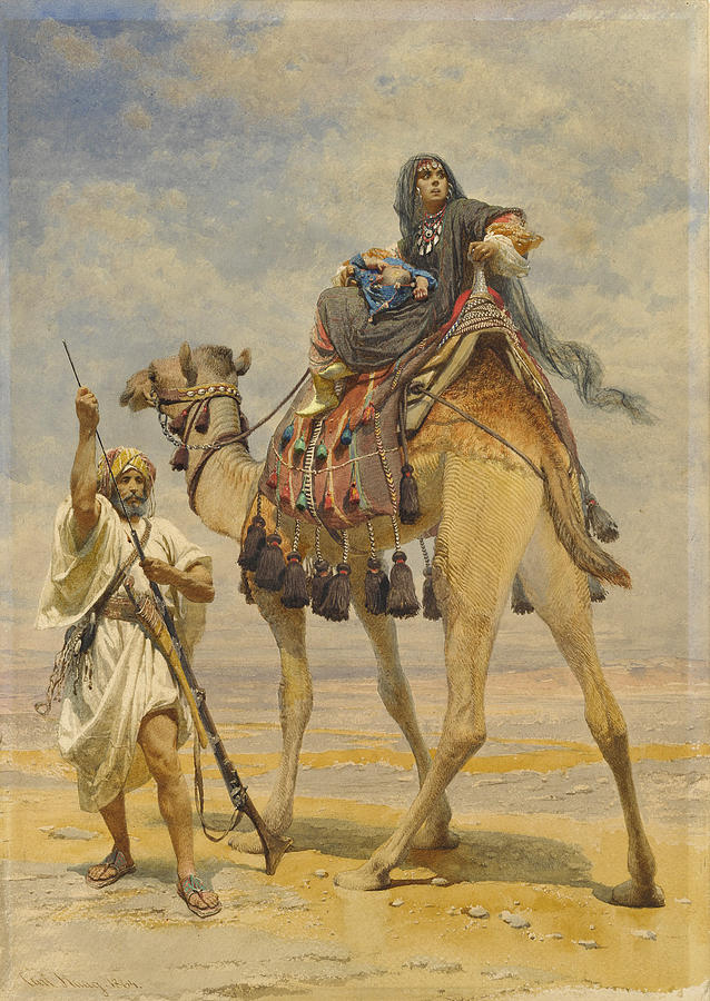 Bedouin Woman On A Camel by Carl Haag