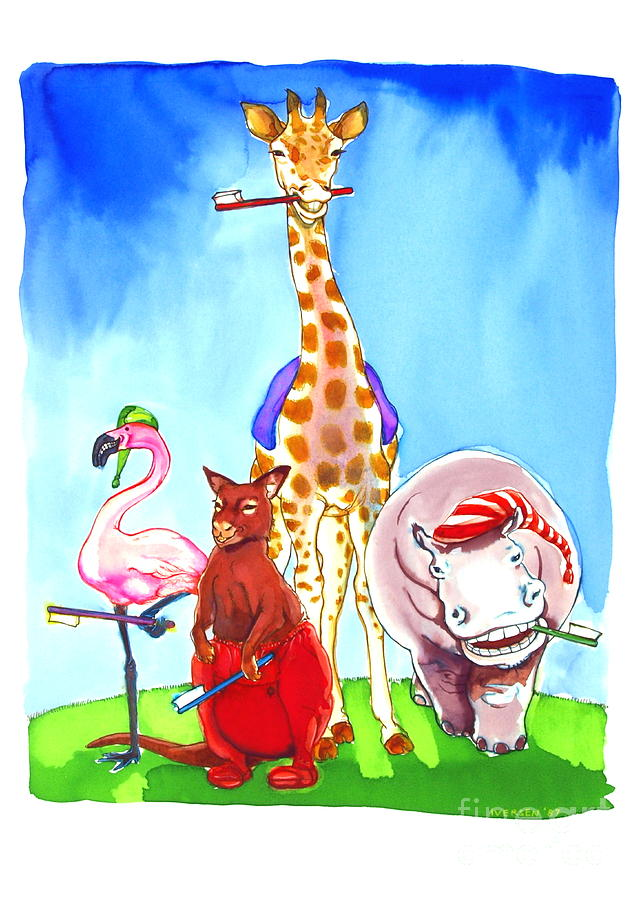 Wildlife Painting - Bedtime Animals by Jill Iversen