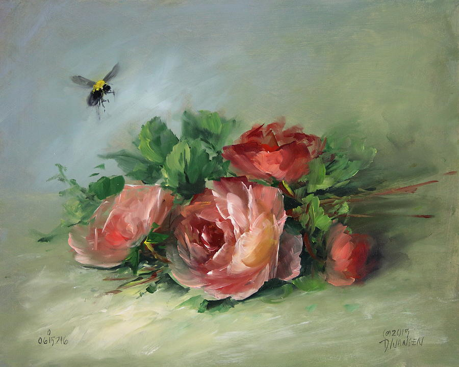 Ships Painting - Bee And Roses On A Table by David Jansen