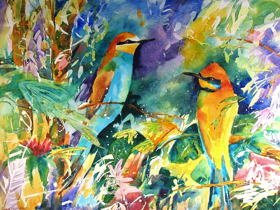 Watercolours Painting - Bee Eaters by John Nussbaum