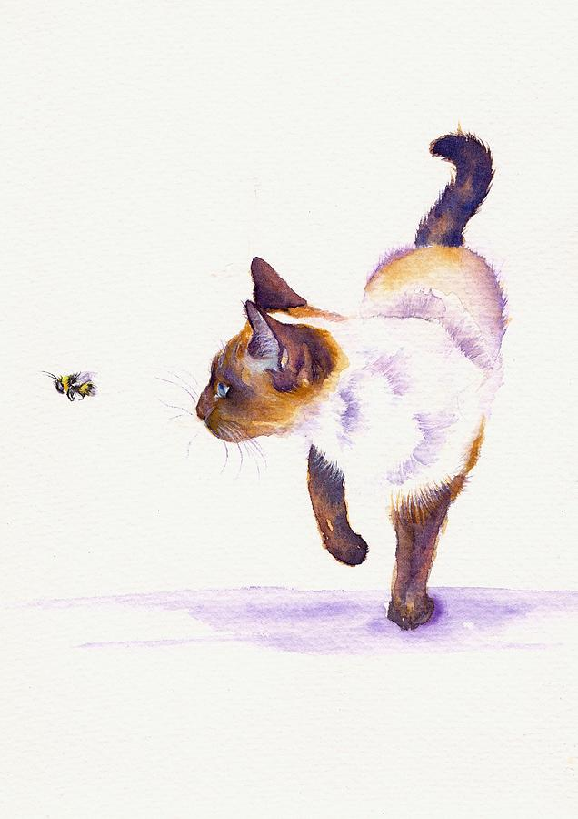 Cat Painting - Bee Free by Debra Hall