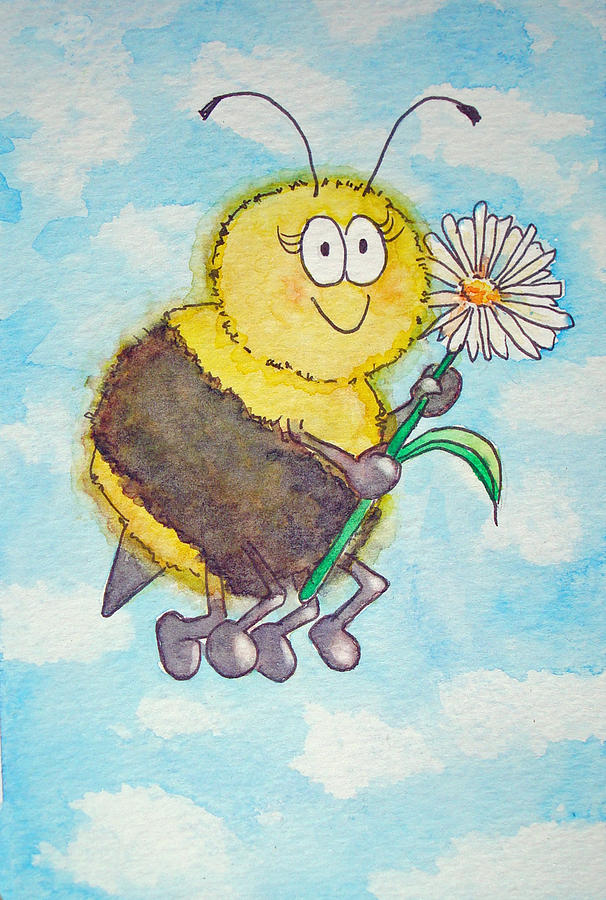 Bee Happy Whimsical Watercolor Painting by Kerra Lindsey