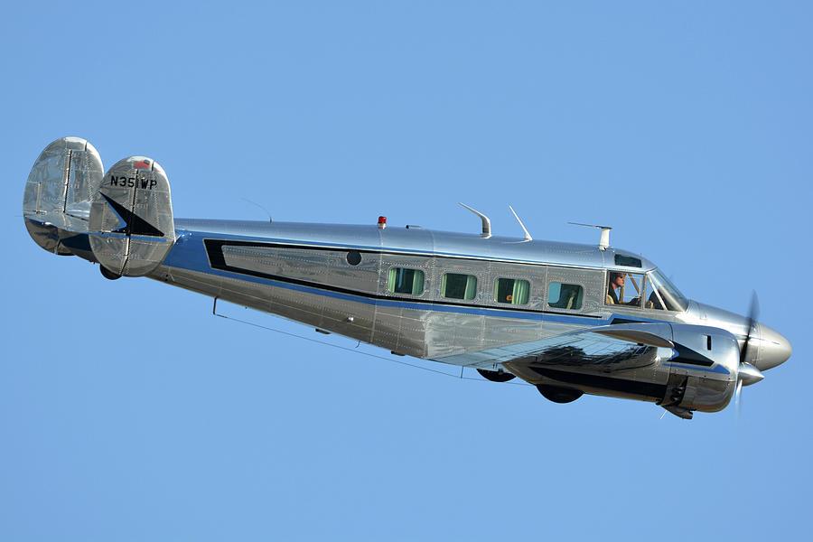 Airplane Photograph - Beech G18s N351wp Chino California April 29 2016 by Brian Lockett