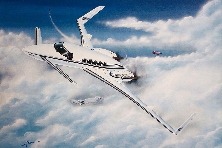 Beechcraft Starship 2000 Painting by Peter Ring Sr