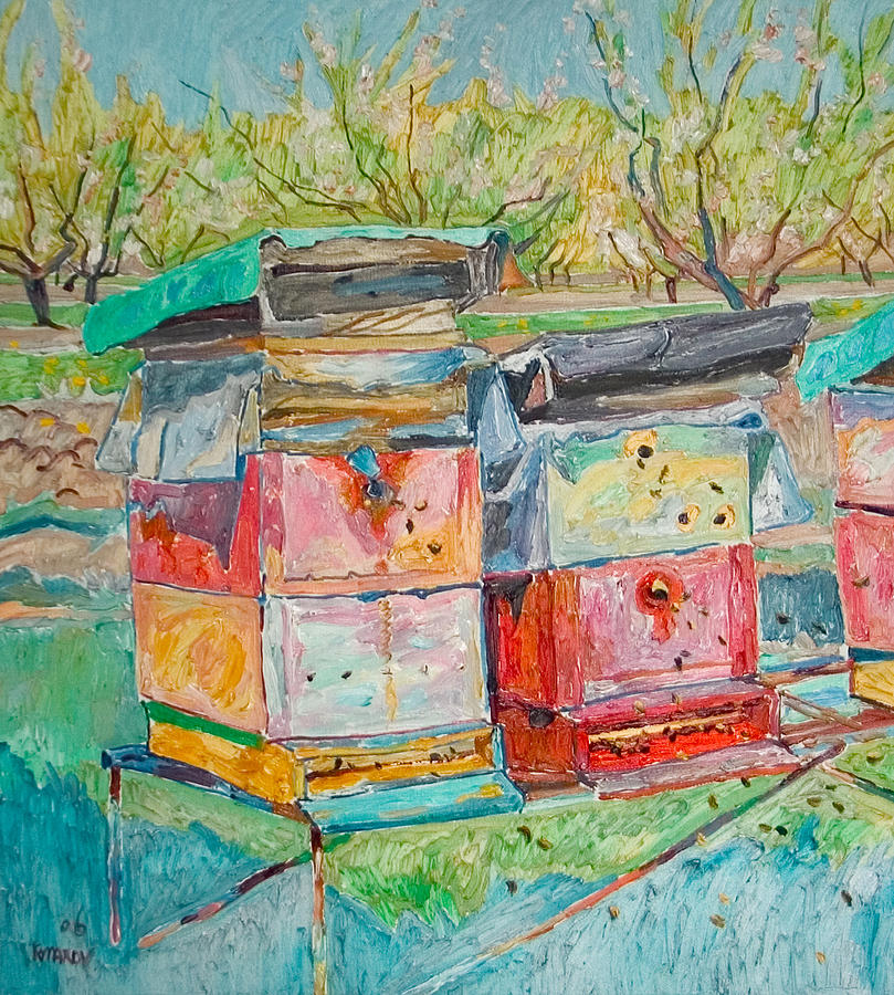 Landscape Painting - Beehives In Orchard by Vitali Komarov