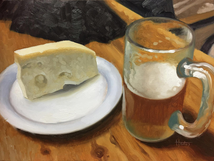 Food Painting - Beer And Jarlsberg by Timothy Jones