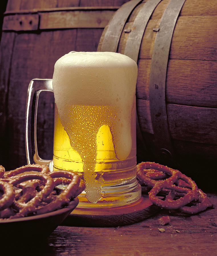 Beer Photograph - Beer And Pretzels by Thomas Firak