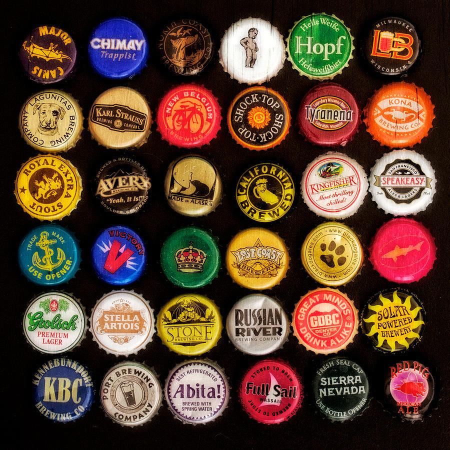 Beer bottle caps photograph by jarrod erbe for Beer cap bar top