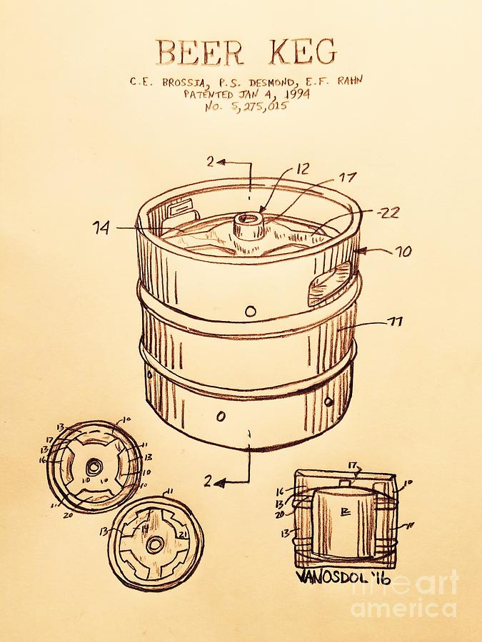 Beer Digital Art - Beer Keg 1994 Patent - Vintage by Scott D Van Osdol