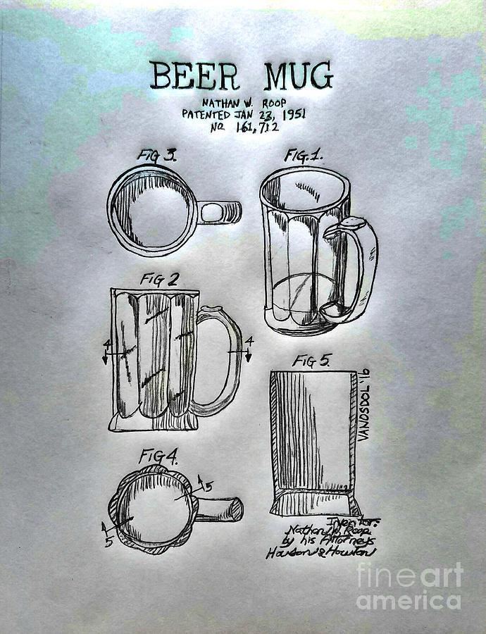 Beer Digital Art - Beer Mug 1951 Patent - Silver Abstract by Scott D Van Osdol