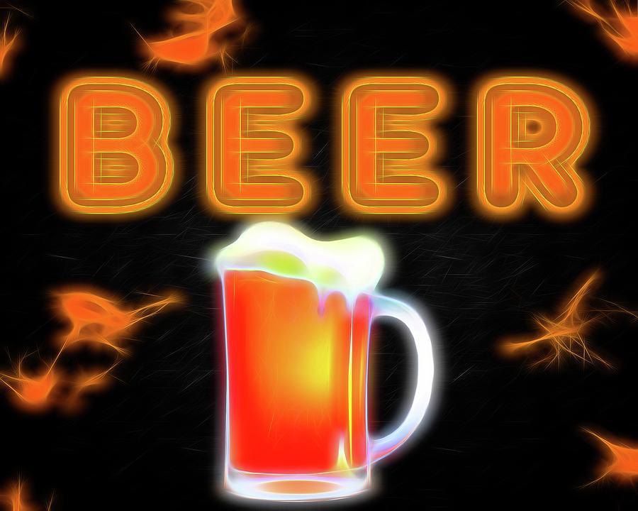 Neon Mixed Media - Beer Neon Sign by Dan Sproul
