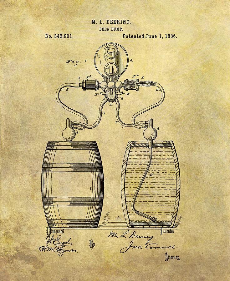 Beer Pump Drawing - Beer Pump Patent by Dan Sproul