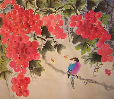 Water Colour Painting - Bees And Bird by Lian Zhen