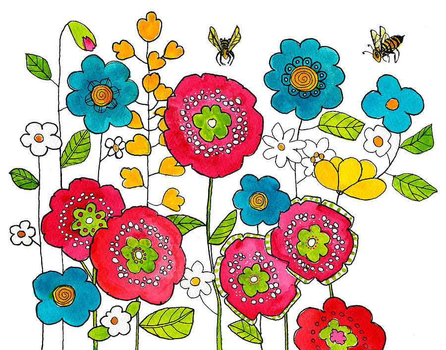 Floral Painting - Bees And Flowers by Blenda Studio