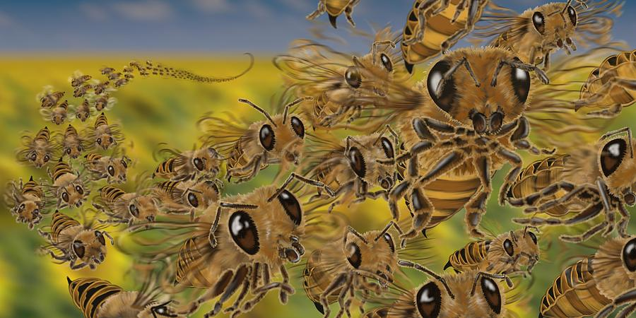 Bees Painting - Bees by Tom Wrenn