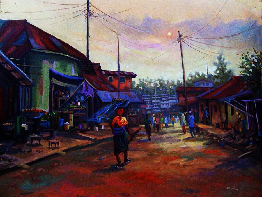 Landscape Painting - Before Dusk by Aderonke ADETUNJI